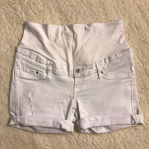 H&M MAMA Maternity White Denim Shorts